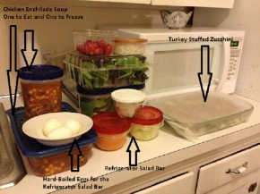 Working Mom Wednesday: Prepping Stuffed Zucchini, Chicken Enchilada Soup, and a Refrigerator Salad Bar